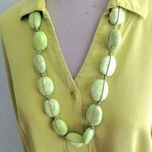 Citrine Color Handmade Stone Necklace Long Length